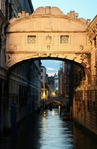 Dusk at the Bridge of Sighs Venice Italy